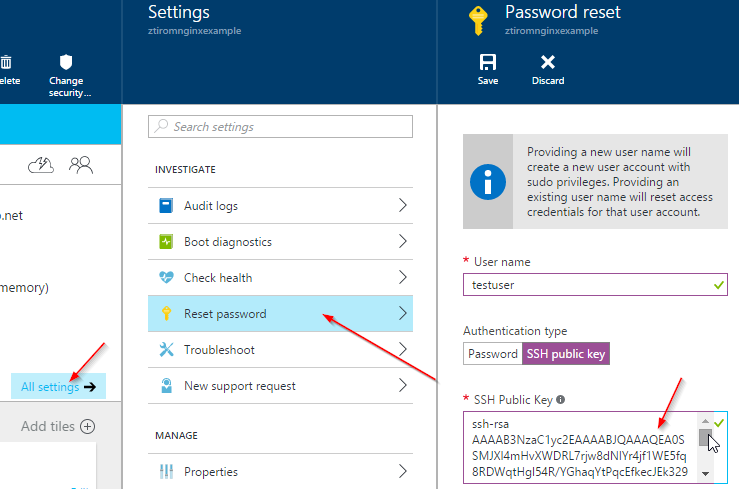 Azure SSH Add Key