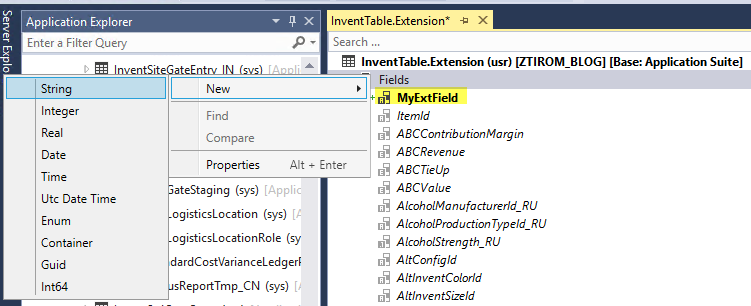 AX7 Add Field for Table Extension